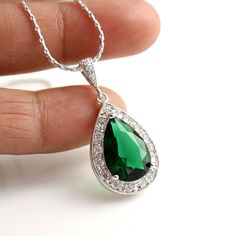 Wedding Necklace Bridal Necklace with Large Emerald Green Cubic Zirconia Teardrop pendant Silver Wedding Jewelry $38.00