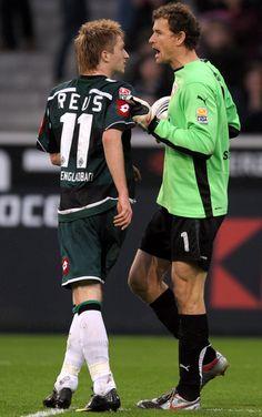 Young Marco Reus (Borussia Mönchengladbach, 2009–2012, 99 apps, 37 goals) argued with Jens Lehmann (VfB Stuttgart, 2008–2010, 65 apps, 0 goal).