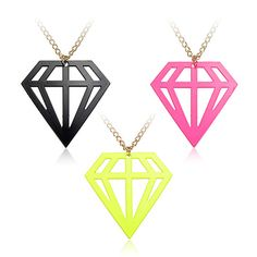 SALE!+Punk+style+big+bright+fluorescent+diamond+shape+pendant+necklace+-+black,+green+or+pink.  Measurements:  Pendant:+1.9in+1.9in+(4.7cm+x+4.7cm)  Chain:+27.6in+(70cm)