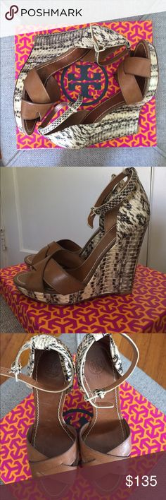 """Tory Burch Livia Wedge Sandal Size 8 Livia genuine snakeskin and brown leather wedge sandals. In very good used condition with subtle signs of wear throughout, mostly on soles. 5"""" wedge, 1"""" platform. Tory Burch Shoes Wedges"""