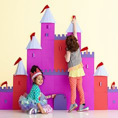 Set the stage for royal fun with a homemade paper castle. Removable felt flags can be pinned to the turrets for a fun party game: http://www.parents.com/fun/birthdays/ideas/paper-princess-castle/?socsrc=pmmpin130418bpPaperCastle