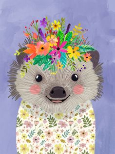 Hedgehog with floral crown Mini Art Print by Mia Charro - Without Stand - x Crown Art, Guache, Acrylic Box, Clear Acrylic, Welcome Mats, Floral Crown, Whimsical Art, Tapestry Wall Hanging, Framed Art Prints