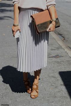 High Street To High End Pouches - love the shoes and skirt
