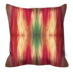 BUTTERFLY TRIBAL Red Green Colorful Watercolor Art Suede Decorative Throw Pillow Cushion Cover by EbiEmporium, #tribalpattern #ikat #boho #bohemian #throwpillow #pillowcover #homedecor