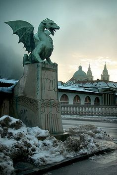 Dragon bridge in Ljubljana, Slovenia (i want that on either side of my driveway!)