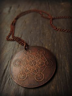 Metatron's Cube - Sacred Geometry Etched Copper Pendant
