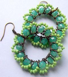 Green Beaded Earrings Copper Wire Wrapped Hoops by BohemiaJewelry, $36.00