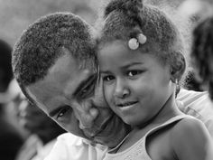 President Barack Obama and Sasha Obama