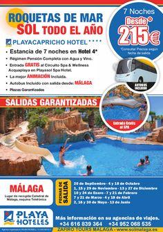 ROQUETAS DE MAR SOL TODO EL AÑO. • Estancia de 7 noches en Hotel 4* • Régimen Pensión Completa con Agua y Vino. • Entrada GRATIS al Circuito Spa & Wellness Acquaplaya en Playasol Spa Hotel. • La mejor ANIMACIÓN Incluida. • Autobús Incluido con salida desde: MÁLAGA • Plazas Garantizadas. FECHAS DE SALIDA 20 de Septiembre · 4 y 18 de Octubre 1, 15 y 29 de Noviembre · 13 y 27 de Diciembre 10 y 24 de Enero · 7 y 21 de Febrero 7 y 21 de Marzo · 4 y 18 de Abril 2, 16 y 30 de Mayo · 13 de Junio.