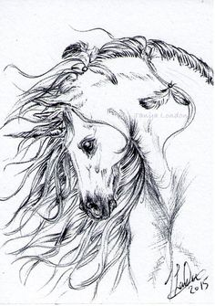 Feathered Unicorn Fantasy Pen Drawing Original ACEO Art by Tanya London