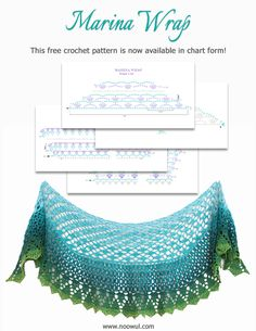The free Marina Wrap crochet pattern is now available in chart form. The free Marina Wrap crochet pattern is now available in chart form. Crochet Shawl Free, Crochet Wrap Pattern, Crochet Shawls And Wraps, Crochet Scarves, Crochet Clothes, Crochet Lace, Crochet Patterns, Crochet Accessories, Single Crochet