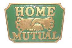 Vintage Cast Iron Firefighter Insurance Home Mutual Emblem Plaque Memorabilia