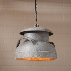 Farmhouse Milk Can pendant light primitive rustic country Industrial Simple hanging lamp antique polish tin metal ceiling minimalist design decor Country Farmhouse Decor, Farmhouse Lighting, Rustic Lighting, Rustic Decor, Country Charm, Lighting Ideas, Vintage Farmhouse, Country Kitchen, Farmhouse Style
