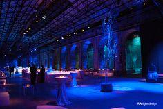 Blue lights for a big wedding at Stazione Leopolda, Florence winter 2015. www.ralightdesign.com