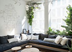 cozy built-in sofa upholstered in a variety of Parachute linens a Built In Furniture, Living Furniture, Living Room Sofa, Living Room Decor, Plywood Furniture, Furniture Nyc, Kitchen Furniture, Built In Couch, Floor Couch