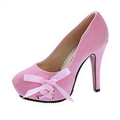Pumput / Heels - Tekonahka - Musta/Vaaleanpunainen/Punainen Korkokengät/Platform-kengät/Pyöreä kärkinen - Piikkikorko - NAISET – USD $ 17.99