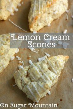 Lemon Cream Scones (recipe) - On Sugar Mountain Easy.uses a stand mixer (baking recipes scones) Mini Desserts, Delicious Desserts, Yummy Food, Brunch Recipes, Breakfast Recipes, Dessert Recipes, Breakfast Scones, Lemon Recipes, Baking Recipes