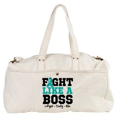 Peritoneal Cancer Fight Boss Duffel Bag by hopeawarenessribbons.com  m #fightlikeaboss #cancerawareness #cancershirts