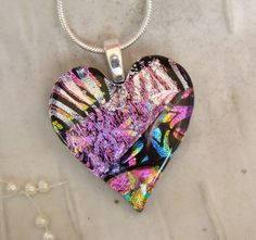 Fused Dichroic Heart Pendant, Glass Jewelry, Pink, Silver, Necklace Included, One of a Kind. $26.00, via Etsy.