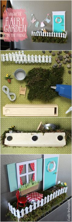 Make a fairy garden... for your fridge! A secret compartment stores extra pieces so you can switch out the scenes. SO FUN!