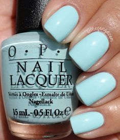 OPI Gelato On My Mind nail polish manicure. I love light blue nail polish colors for the summer. Nail Art Vernis, Nail Lacquer, Red Make Up, Opi Nails, Opi Blue Nail Polish, Nail Nail, Summer Nail Polish Colors, Blue Toe Nails, Light Blue Nail Polish