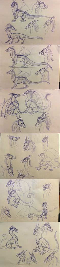 So I really really love the Wings of Fire series, and lately I've been doing some sketches of dragons from the books. These are all in pen so I made mis. Wings of Fire Sketches: Nightwings, Icewings etc Animal Sketches, Animal Drawings, Cool Drawings, Art Sketches, Fantasy Dragon, Dragon Art, Fire Sketch, Dragon Anatomy, Wings Of Fire Dragons