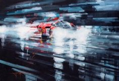 Favorite automotive topics include cars of the 1930s and 60s, as well as the more famous sports prototypes such as the Ford GT40, Lola T70, and Porsche 917. And he particularly enjoys painting night and rainy race scenes because of the atmosphere that is created with the spray and reflections from lights. When not painting, John appropriately enjoys spending time behind the wheel of his own GTD40.