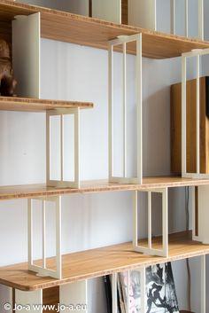 Curve Steel Bookshelf by Jo-a Cream Bedroom Furniture, Grey Painted Furniture, Shelf Furniture, Office Furniture Design, Trendy Furniture, Repurposed Furniture, Dining Furniture, Furniture Projects, Steel Bookshelf