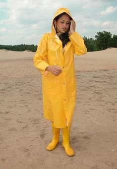 Yellow PVC Hooded Raincoat & Rubber Boots