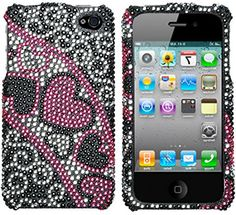 myLife Black, Pink, and White {Bling Crystal Rhinestone Hearts} 2 Piece Snap On Hardshell Plates Case for the iPhone 4/4S (4G) 4th Generation Touch Phone (Clip Fitted Front and Back Solid Cover Case + Rubberized Tough Armor Skin) myLife Brand Products http://www.amazon.com/dp/B00UK8OYS6/ref=cm_sw_r_pi_dp_Nubjvb0Q2SXPZ