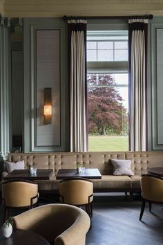 The Century Bar at Gleneagles by David Collins | like the subtle space defining buttoning