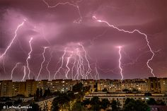 Bucharest under a lightning storm Wild Weather, Thunder And Lightning, Beautiful Disaster, Grey Skies, Lightning Strikes, Stuff And Thangs, Bucharest, Natural Disasters, Amazing Nature