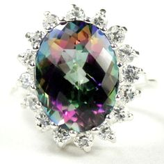 SR310, Mystic Fire Topaz, 925 Sterling Silver Royal Engagement Ring