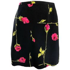 Preowned 1990s Betsey Johnson Rose Print Hot Pink + Green + Black... ($495) ❤ liked on Polyvore featuring skirts, mini skirts, pencil skirts, red, red pencil skirt, short mini skirts, red mini skirt and green skirt