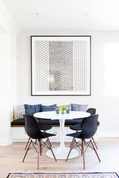 Get inspired by Modern Dining Room Design photo by Veneer Designs. Wayfair lets you find the designer products in the photo and get ideas from thousands of other Modern Dining Room Design photos. Dining Nook, Dining Room Design, Dinning Table, Dining Decor, Ikea Dining Room, Tulip Dining Table, Small Dining Area, Small Dining Room Tables, Ikea Dining Table Hack