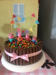 Peppa Pig Muddy Puddle Cake 2nd Birthday Party For Girl, Peppa Pig Birthday Cake, Cumple Peppa Pig, Thomas Cakes, Pig Party, Girl Cakes, No Bake Cake, How To Make Cake, Cupcake Cakes