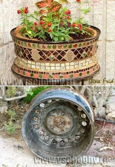 Stupendous Cool Tips: Old Car Wheels Vw Beetles car wheels recycle hot rods.Old Car Wheels Dreams car wheels design sweets.Old Car Wheels Barn Finds. Recycled Garden Art, Garden Crafts, Garden Projects, Tile Crafts, Mosaic Crafts, Outdoor Projects, Outdoor Decor, Metal Yard Art, Mosaic Diy