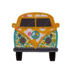 """Kombi Van VW Beetle Applique Machine Embroidery Design Patterns 3 variations in 3 sizes 4"""", 5"""" and 6"""""""