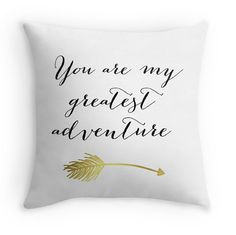 You Are My Greatest Adventure Decorative Pillow Cover with Quote, Typography Statement Pillow, Black/White, Nursery, Faux Gold Foil