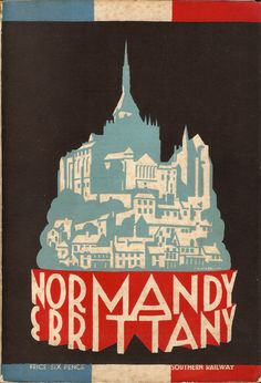 The almost annual guide, one of a series issued by the Southern Railway of England covering many continental destinations, to Normandy & Brittany in France. This rather abstract cover is by P Irwin Brown - Pieter Irwin Brown, the Dutch artist, I suspect and dates from 1930. He designed a few posters for London Transport at this time; www.ltmcollection.org/posters/artist/artist.html?IXartist...