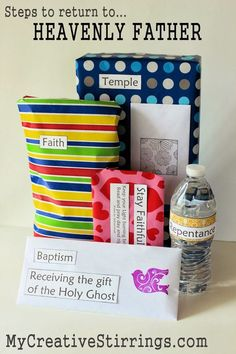 Gifts for an LDS baptismal age child from MyCreativeStirrings. They are gifts to remind the child of the steps to live a life like Christ would have you them. Mormon Baptism, Baptism Talk, Baptism Party, Lds Baptism Ideas, Fhe Lessons, Primary Lessons, Primary Activities, Lds Primary, Object Lessons