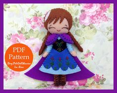 Anna in Frozen Doll. Removable Cape. Felt Doll. PDF Pattern and Tutorial. Fairy Tale. Disney Princess.