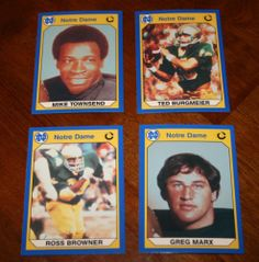 Lot of 4 Four NOTRE DAME Football Trading Cards-Townsend/Burgmeier/Marx/Browner