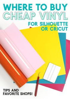 Learn how to cut vinyl with your Silhouette or Cricut in this Beginner's Guide to Craft Vinyl. Before you know it you will be using adhesive vinyl and heat transfer vinyl vinyl to create professional-looking home décor, apparel, and more! Cricut Vinyl, Buy Vinyl, Cheap Vinyl, Cricut Craft Room, Cheap Heat Transfer Vinyl, Cricut Air, Cricut Fonts, Arts And Crafts Projects, Arts And Crafts Supplies