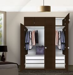 "This taller Alta wardrobe closet package with 6 interior drawers is a great way to absolutely maximize a given amount of floor space. Our taller wardrobe closets literally go ""above and beyond"" at 94 inches total height. Wardrobe Storage Cabinet, Wardrobe Drawers, Wardrobe Cabinets, Wardrobe Furniture, Closet Storage, Corner Wardrobe Closet, Corner Closet Organizer, Wardrobe Sale, Front Closet"