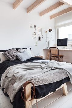 A studio is transformed into a lovely guest room in the home of Holly Marder. I spy my book #ModernPastoral on the bed too :)