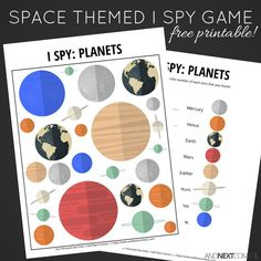 Free printable space themed I Spy game for kids from And Next Comes L
