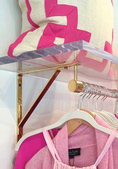 Lucite Clothing Rack with Shelf (polished brass, satin brass or nickel) Retail Display - Retail Shelving - Closet Organizer -LuxHoldups - Clothings 👗 Closet Rod, Closet Shelves, Master Closet, Glam Closet, Closet Store, Bathroom Closet, Master Bedroom, Lucite Furniture, Acrylic Furniture