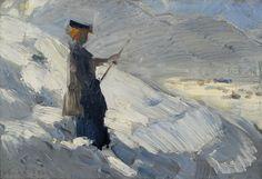 Franz Marc - Standing woman in winter landscape, 1906