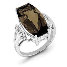 Sterling Silver Rhodium Smoky Quartz & Diam. Ring